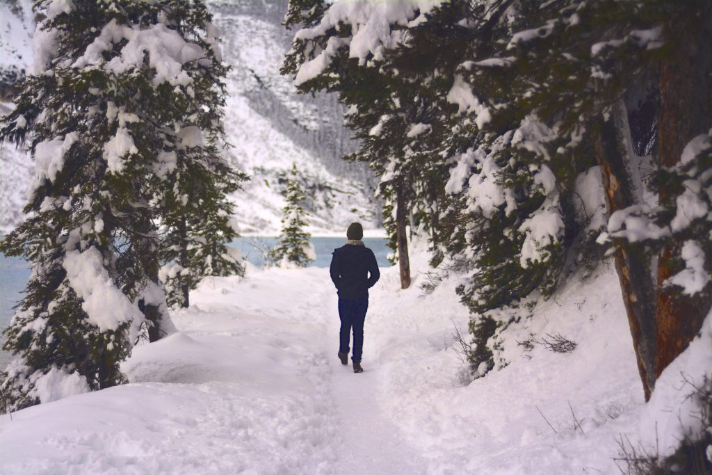Someone walking on a snowy path